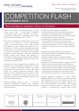 COMPETITION FLASH - Havel, Holásek & Partners