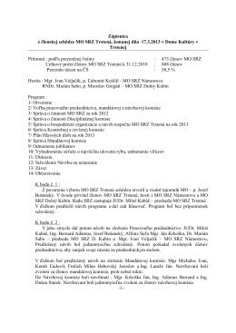Zápisnica z Výročnej členskej schôdze 2013