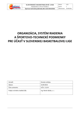 Športovo technické podmienky SBL 2014/2015