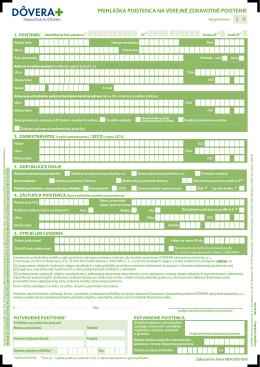 Prihláška Poistenca na verejné zdravotné Poistenie