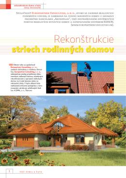 Rekonštrukcie striech rodinných domov