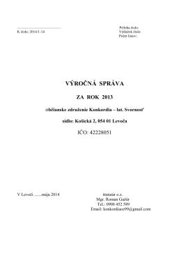 Výročná správa za rok 2013 - Útulok sv. Františka Levoča