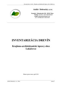 INVENTARIZÁCIA DREVÍN Krajinno-architektonické
