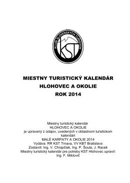 2014 – Miestny turistický kalendár – Hlohovec a okolie (PDF)