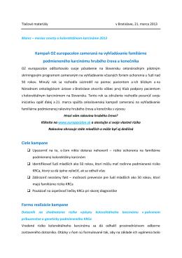 Kampaň OZ europacolon zameraná na vyhľadávanie familiárne