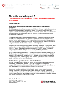 Zhrnutie workshopu č. 3 - Switzerland
