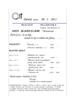 Denné Denné menu - nezabudkapenzion.sk