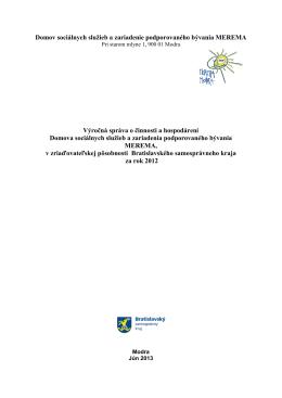 Výročná správa DSS a ZPB Merema 2012