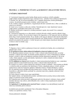 Pravidlá Jogacentra Trnava