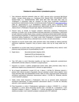 Článok I Všeobecné ustanovenia a vymedzenie