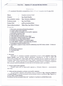 Mesto Sliač. Zápisnica z 27. rokovania MsZ dňa 15.05.2014