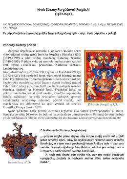 Hrob Zuzany Forgáčovej /Forgách/ (1582