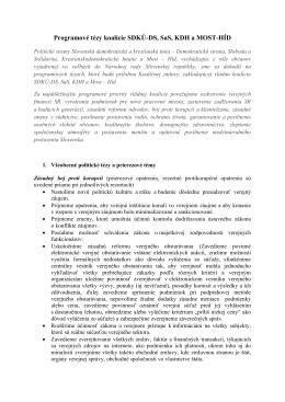 Programové tézy koalície SDKÚ-DS, SaS, KDH a