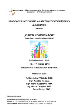 Pozvánka - Konferencia vyšších predstavených ženských reholí