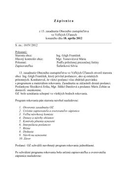 Zápisnica z 13. zasadnutia OZ