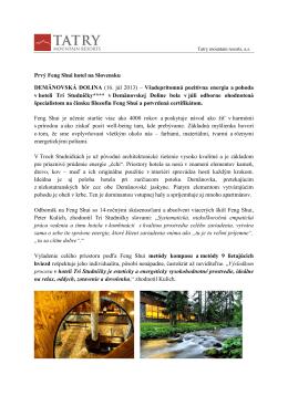 Prvý Feng Shui hotel na Slovensku DEMÄNOVSKÁ DOLINA (16. júl