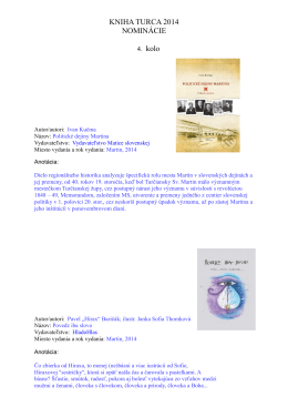 KNIHA TURCA 2014 NOMINÁCIE 4. kolo
