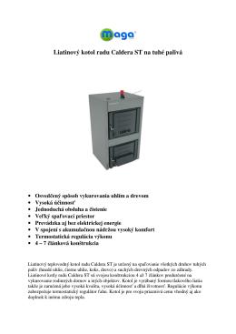 Liatinový kotol radu Caldera ST na tuhé palivá