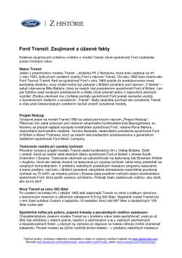 Ford Transit - zaujímavé a úžasné fakty