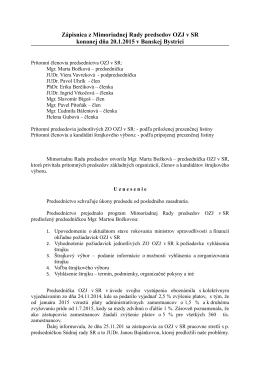 Zápisnica z Mimoriadnej Rady predsedov OZJ v SR konanej dňa