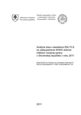 Analýza stavu nasadenia SSL/TLS vo verejnej správe