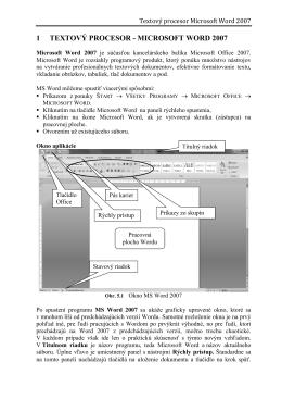 1 TEXTOVÝ PROCESOR - MICROSOFT WORD 2007