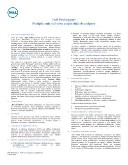 Dell ProSupport Predplatenie softvéru a opis sluţieb podpory