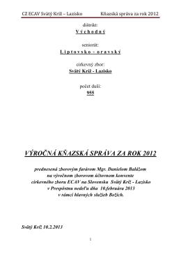 CZ ECAV Svätý Kríž – Lazisko Kňazská správa za rok 2012