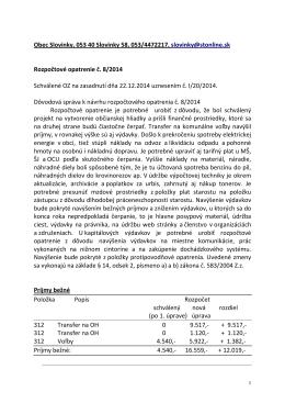 Rozpočtové opatrenie č. 8/2014
