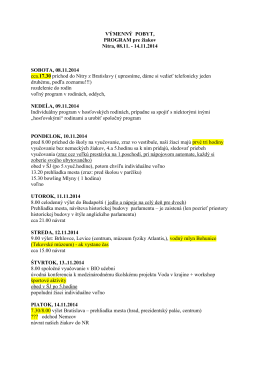 VÝMENNÝ POBYT, PROGRAM pre žiakov Nitra, 08.11