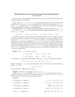 Permutačná nerovnosť (nerovnosť preusporiadania) ≤ 1