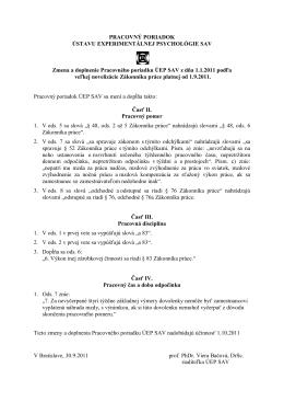 Zmena a doplnenie pracovného poriadku platné od 1.10.2011