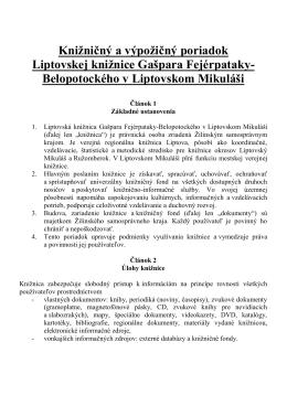 Knižničný a výpožičný poriadok Liptovskej knižnice Gašpara