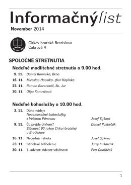 November 2014 - Cirkev bratská v Bratislave