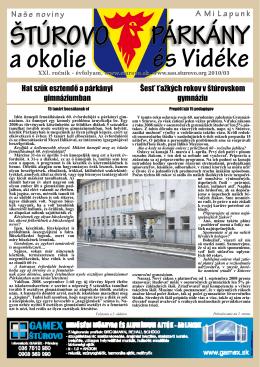 Hat szűk esztendő a párkányi gimnáziumban Šesť ťažkých rokov v