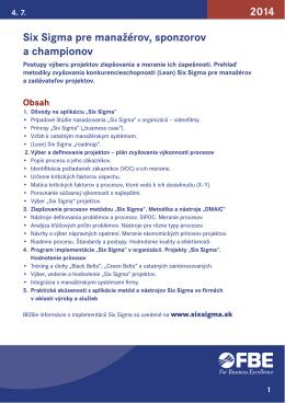 Six Sigma pre manažérov, sponzorov a championov 2014