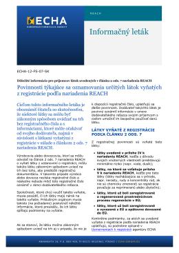 Informačný leták - ECHA