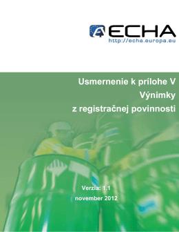Usmernenie k prílohe V Výnimky z registračnej - ECHA