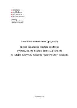 Metodické usmernenie č. 3/6/2009 Spôsob oznámenia