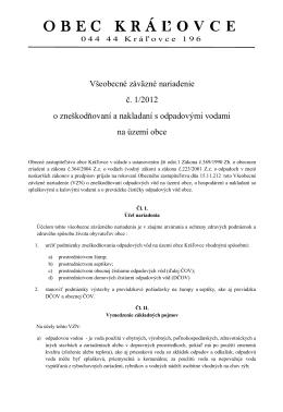 Všeobecné záväzné nariadenie - Kráľovce - 16.11