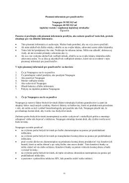 Písomná informácia pre používateľov Neupogen 30 MU