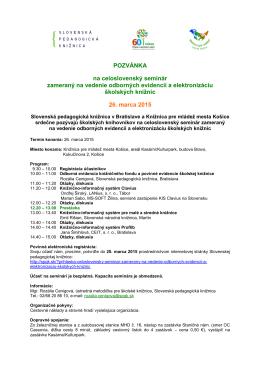 POZVÁNKA na celoslovenský seminár zameraný na vedenie