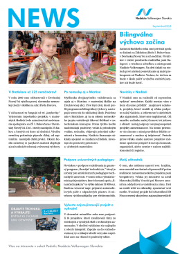 Newsletter za rok 2013 - Nadácia Volkswagen Slovakia