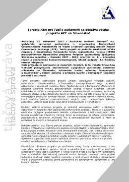 Vzdelávanie v metodike ABA už aj na Slovensku a to vďaka