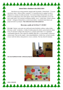 Zelená škola v školskom roku 2013 - skola.dolnastrehova.sk