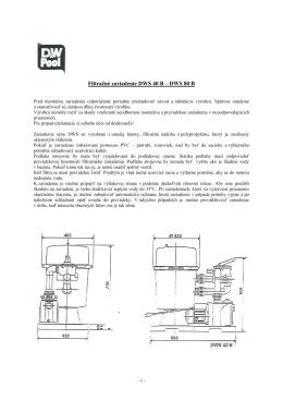 Filtračné zariadenie DWS 40B a DWS 80B