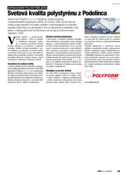 Svetová kvalita polystyrénu z Podolínca