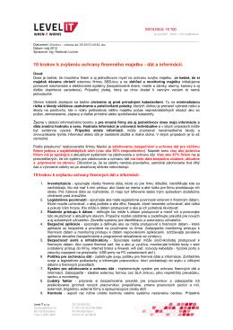10 krokov k zvýšeniu ochrany firemného majetku - dát a