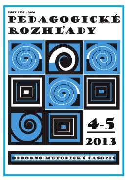 PR4-5/2013 - Pedagogické rozhľady - Metodicko
