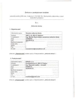 Zmluva o poskytovaní služieb IC O